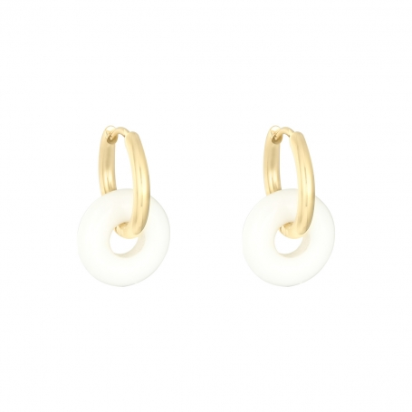 Colorful hoops - white/gold